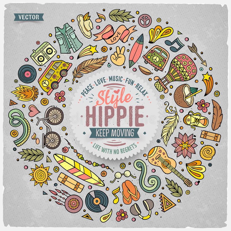 Satz des Hippiekarikaturgekritzels wendet, Symbole und Einzelteile ein lizenzfreie abbildung
