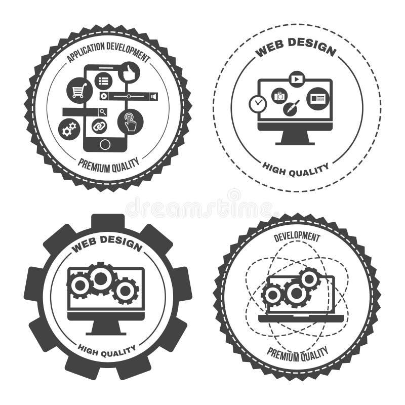 Satz des Ikonennetzmobiles hält apps instand vektor abbildung