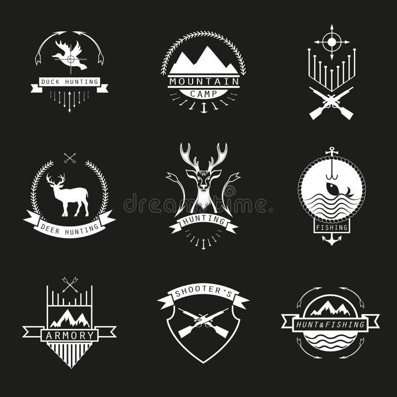 Satz des Jagd-, Kampieren, Fischerei-, Waffenkammer- und tireurlogos, EM vektor abbildung
