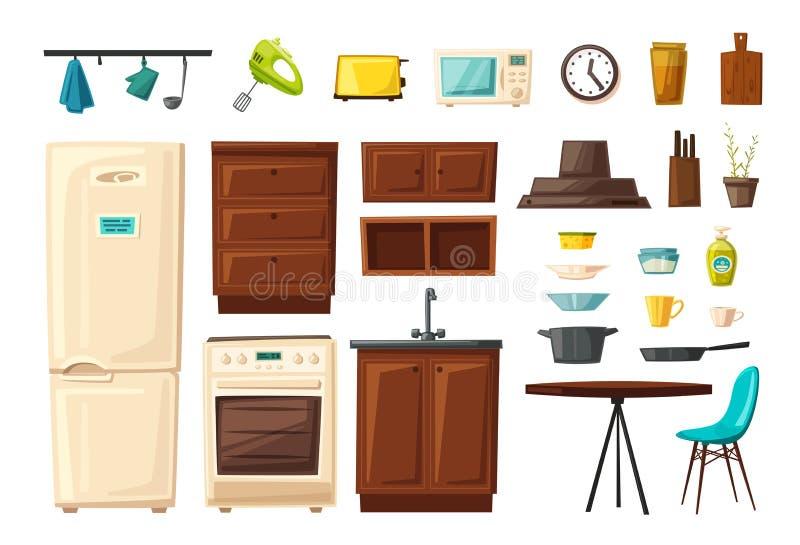 Satz des Kücheninnenraums mit Möbeln und Werkzeugen Katze entweicht auf ein Dach vom Ausländer stock abbildung