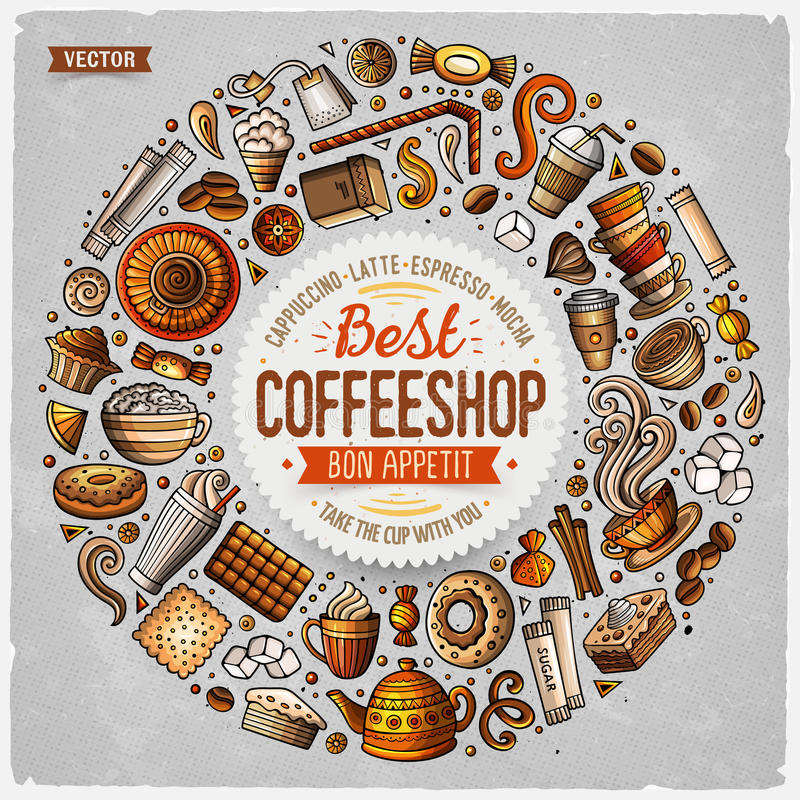 Satz des Kaffeekarikaturgekritzels wendet, Symbole und Einzelteile ein lizenzfreie abbildung