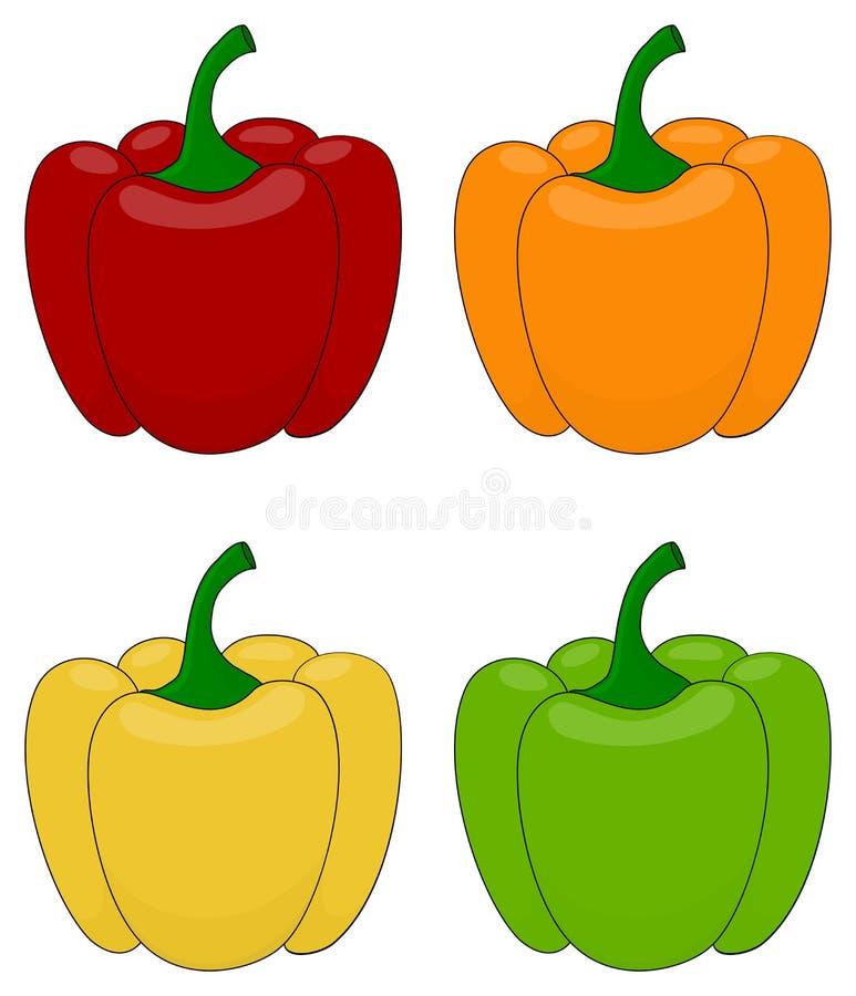 Satz des Karikaturgrünen Pfeffers Rot, orange, gelb und gr?ne Paprikas Vektorillustrationssammlung stock abbildung