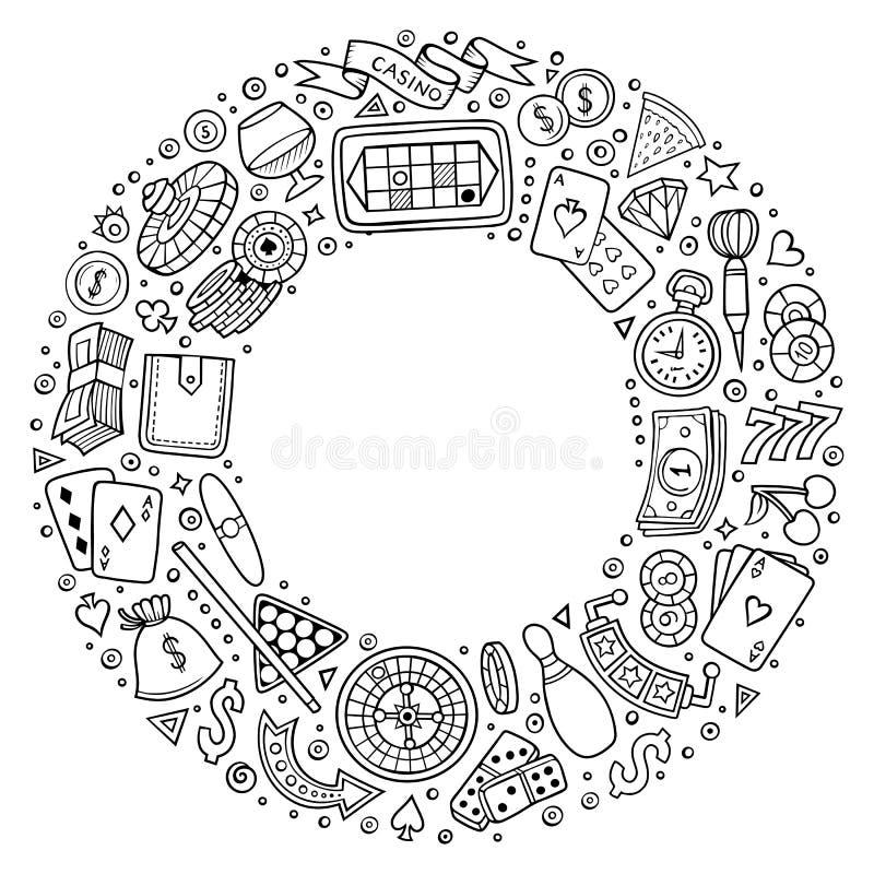 Satz des Kasinokarikaturgekritzels wendet, Symbole und Einzelteile ein stock abbildung