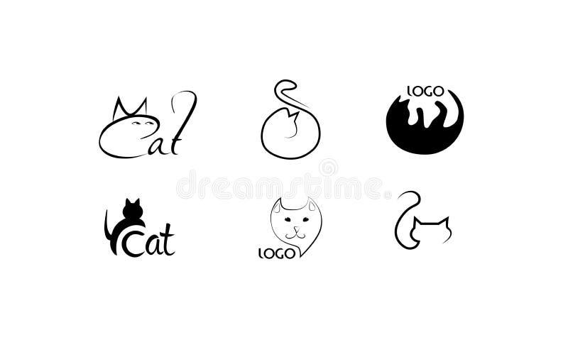 Satz des Katzenfirmenzeichens Geschäft- für Haustierelogokonzept lizenzfreie stockfotografie