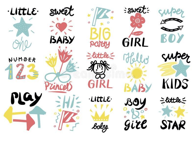 Satz des 15 Kinderlogos mit kleinem Jungen der Handschrift, süßes Mädchen, hallo, Prinzessin, Baby, hallo, eins, das Spiel, Super stock abbildung