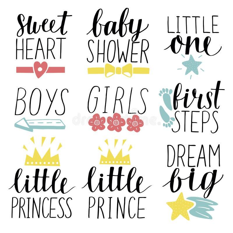 Satz des 9 Kinderlogos mit kleinem Prinzen der Handschrift, Prinzessin, Jungen, Mädchen, Schatz, Babyparty Erste Jobstepps vektor abbildung