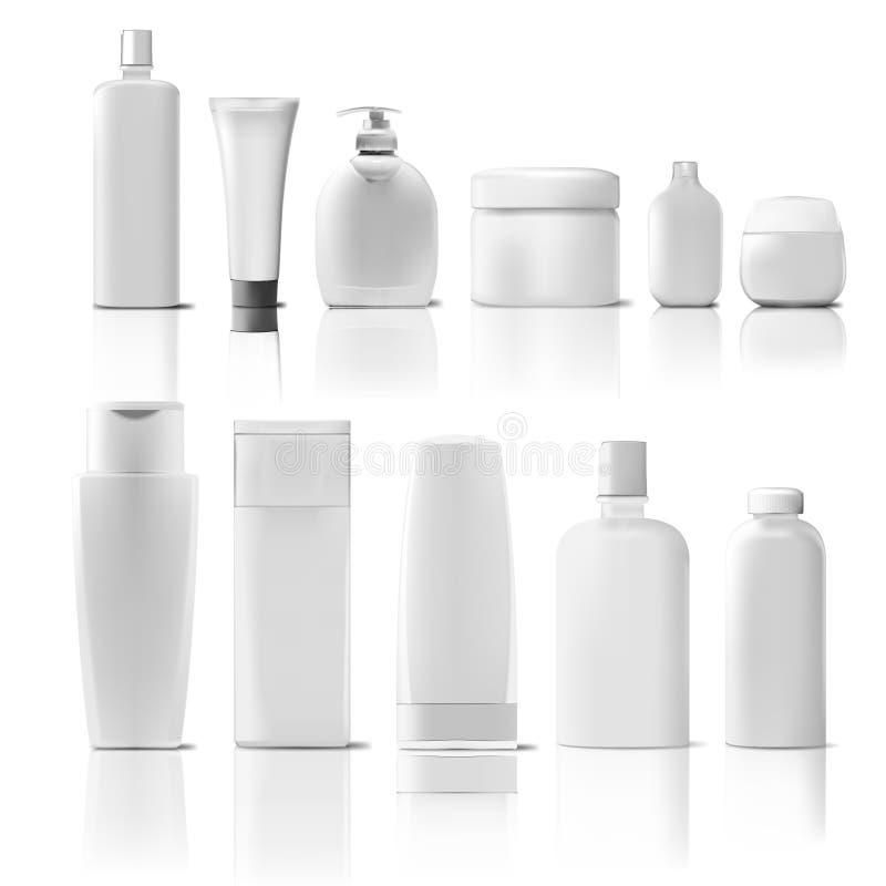 Satz des kosmetischen Produkt-Pakets Sammlung Creme, Suppe, schäumt, Shampoo lizenzfreie abbildung
