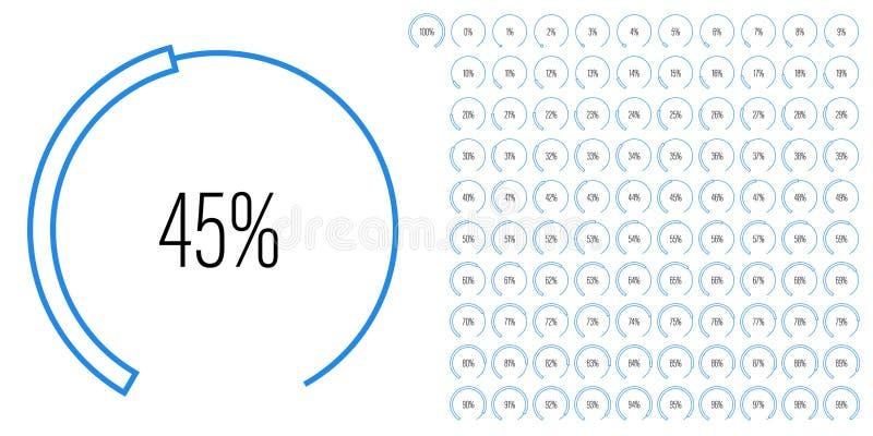 Satz des Kreisausschnittprozentsatzes stellt von 0 bis 100 grafisch dar stock abbildung