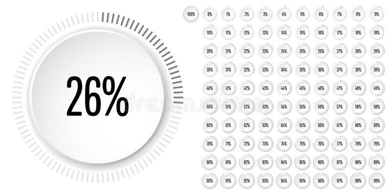 Satz des Kreisprozentsatzes stellt von 0 bis 100 grafisch dar stock abbildung