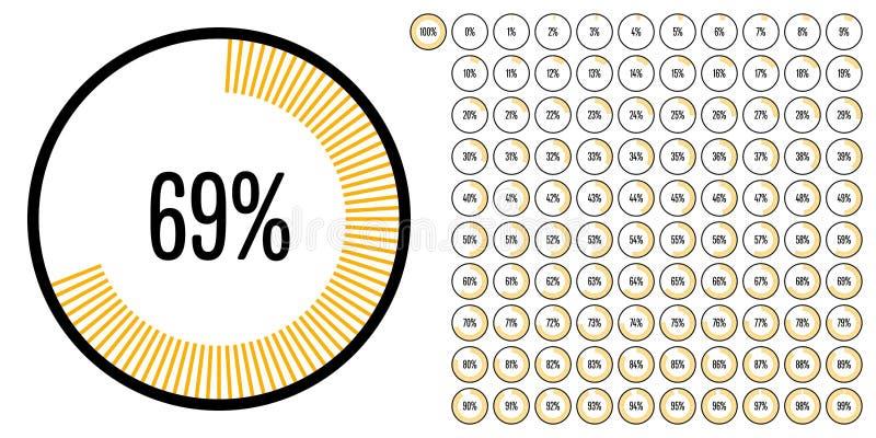 Satz des Kreisprozentsatzes stellt von 0 bis 100 grafisch dar vektor abbildung