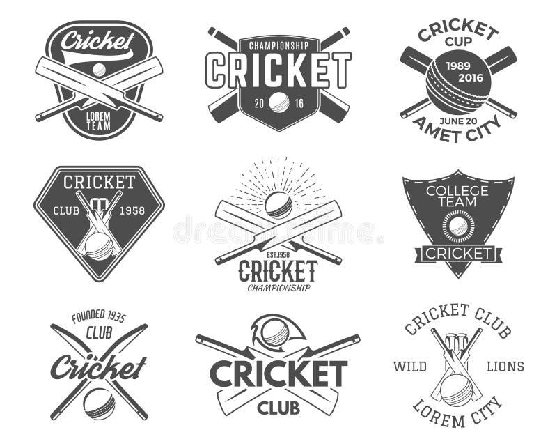 Satz des Krickets trägt Logodesigne zur Schau ikonen versinnbildlicht Gestaltungselemente Sport- T-Stück Klubabzeichen Symbole mi vektor abbildung