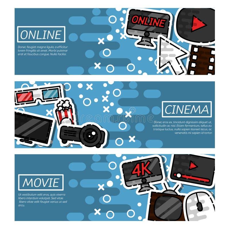 Satz des on-line-Kinos der horizontalen Fahnen vektor abbildung