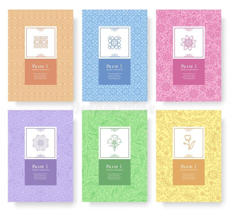 Satz des linearen Pastellartkonzeptes Umreißen Sie Element auf Plakat, Buch, Planzusammenfassung, Zeitschriften, Broschüre Dünne  lizenzfreies stockfoto