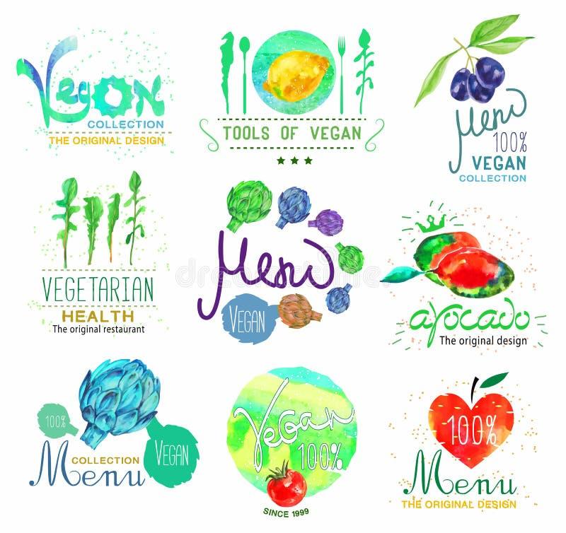 Satz des Logos des biologischen Lebensmittels und des Menüs, der Ausweise und des Gestaltungselements lizenzfreie abbildung