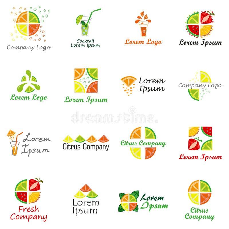 Satz Des Logos Für Fruchtfirma, Neue Saft- Oder Cocktailbar Vektor ...
