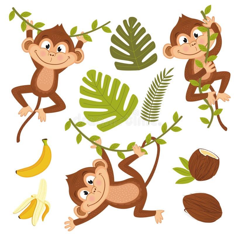 Satz des lokalisierten Affen mit Anlagen und Früchten vektor abbildung