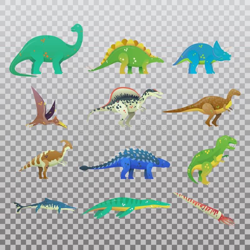 Satz des lokalisierten Karikaturdinosauriers oder -dino lizenzfreie abbildung