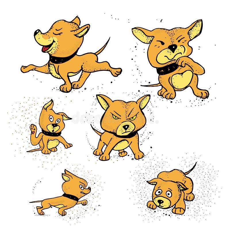 Satz des lokalisierten lustigen Hündchens in den verschiedenen Gefühlen und in den Haltungen in der Karikaturart vektor abbildung