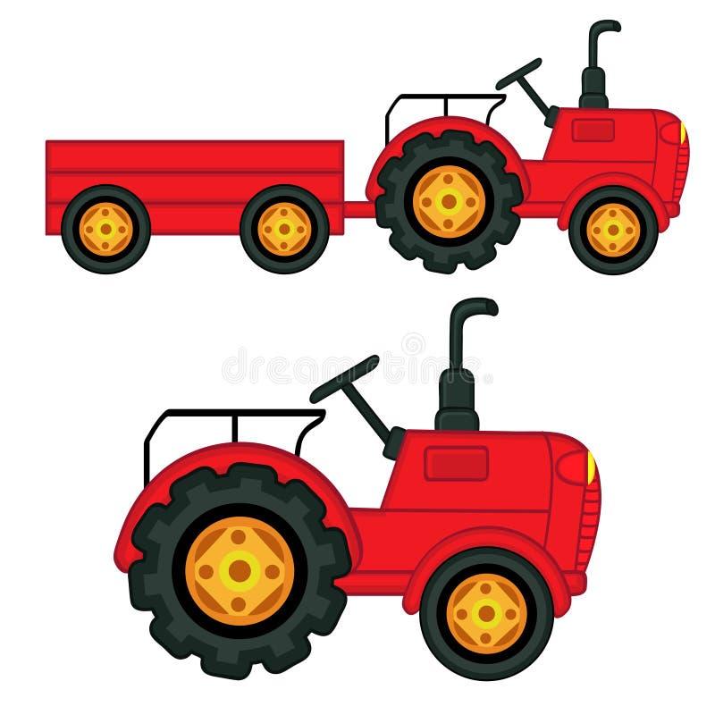 Satz des lokalisierten Traktors mit Anhänger stock abbildung