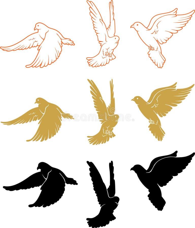 Satz des mannigfaltigen Tauben-Fliegens lizenzfreie abbildung