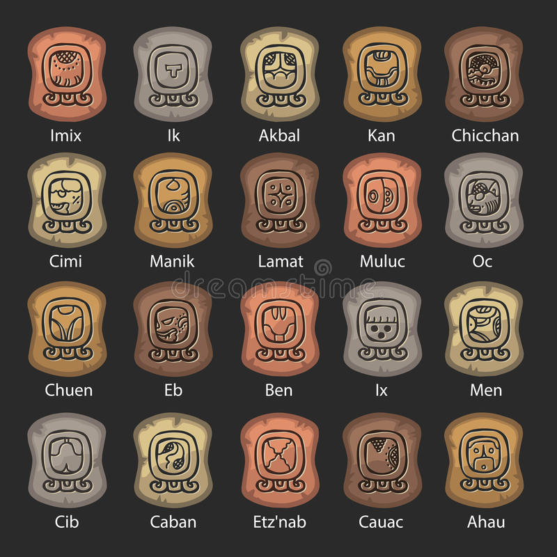 Satz des Mayakalenders gemacht vom Stein stockfotografie