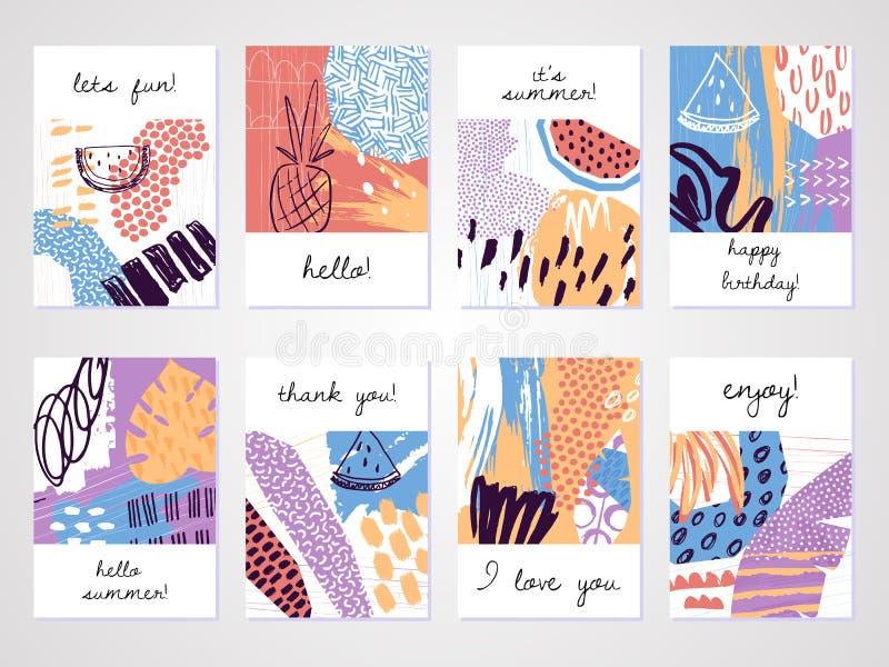 Satz des medizinischen Personals Kreative tropische Sommerkarten in der modischen Art lizenzfreie abbildung