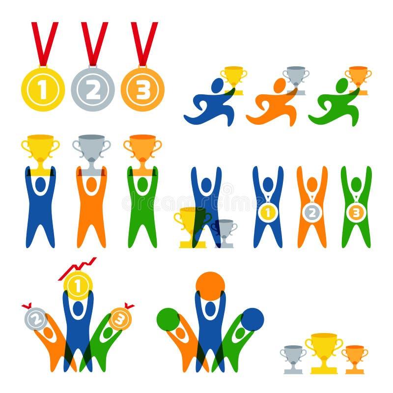 Satz des menschlichen Sportlogos des Vektors, Aufkleber, Ausweise, Embleme Leute- und Sportwettbewerbsikonen Sieger mit Preisen lizenzfreie abbildung