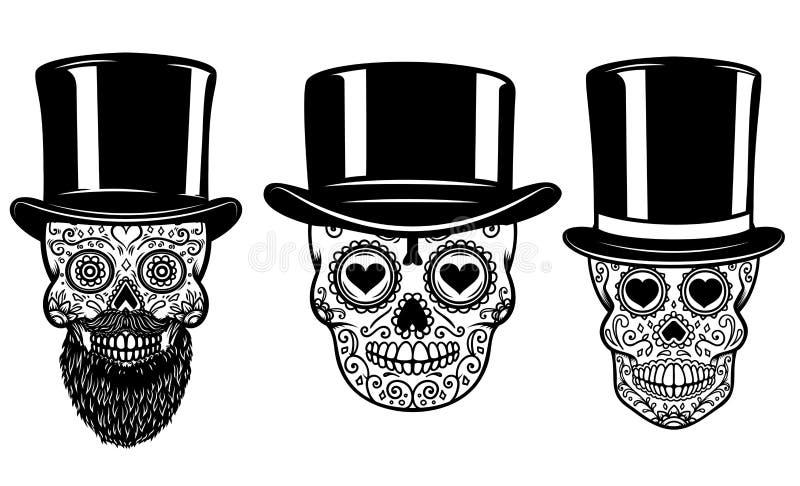 Satz des mexikanischen Zuckerschädels im Weinlesehut und -Sonnenbrille Tag der Toten Gestaltungselement für Plakat, Grußkarte, Fa lizenzfreie abbildung