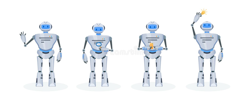 Satz des modernen elektronischen Roboters, Chat Bot Funktion, Bildung, Unterstützung lizenzfreie abbildung