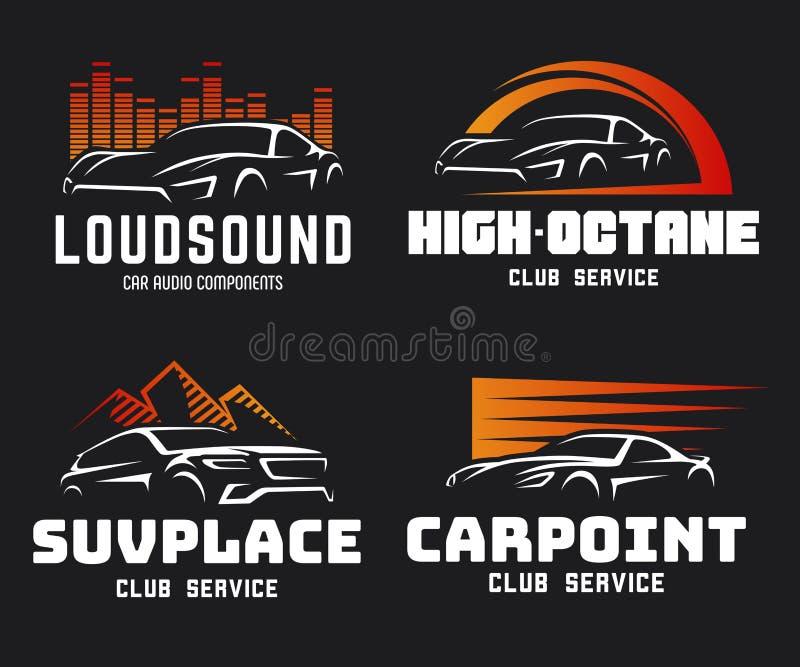 Satz des modernen Sportautos und DES SUV-Logos und der -embleme lizenzfreie abbildung