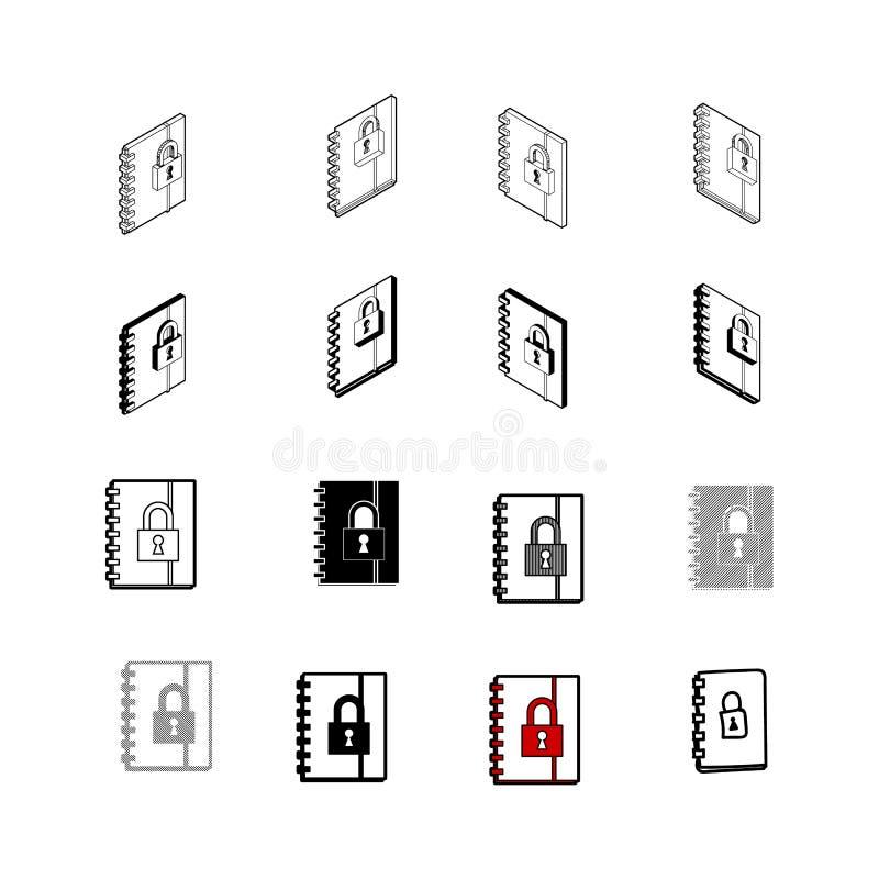 Satz des modernen Vektors Vektor Sammlung Schließen Sie multi Art der Buchikone zu stock abbildung