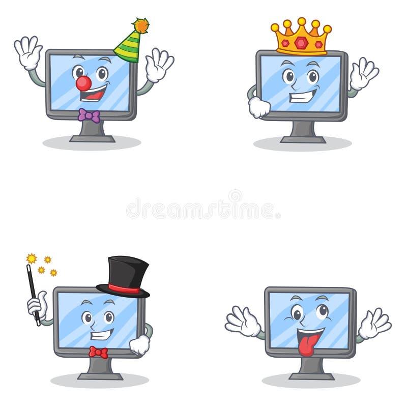 Satz des Monitorcharakters mit Clownkönigmagier verrückt lizenzfreie abbildung