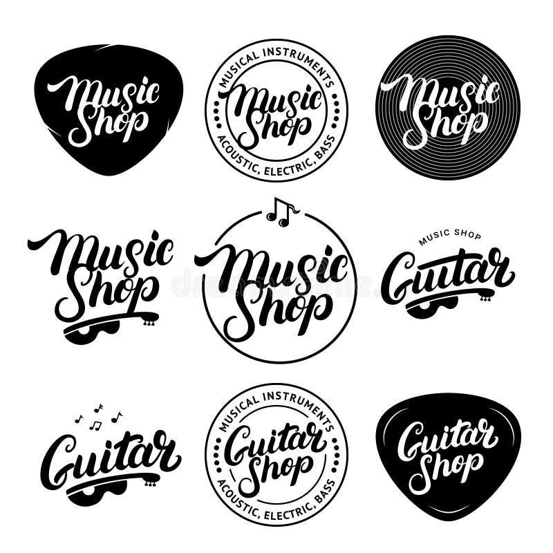 Satz des Musik-Shops und Gitarren-Shop übergeben den Brief Logos, Aufkleber, Ausweise, Embleme geschrieben lizenzfreie abbildung