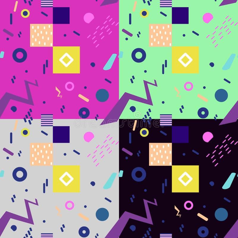 Satz des nahtlosen geometrischen Weinlesemusters in der Retro- Art 80s, Memphis lizenzfreie abbildung
