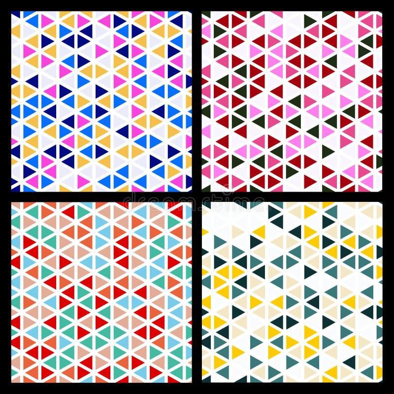Satz des nahtlosen Mosaikdreieckmusters Vektor geometrisches backgr lizenzfreie abbildung