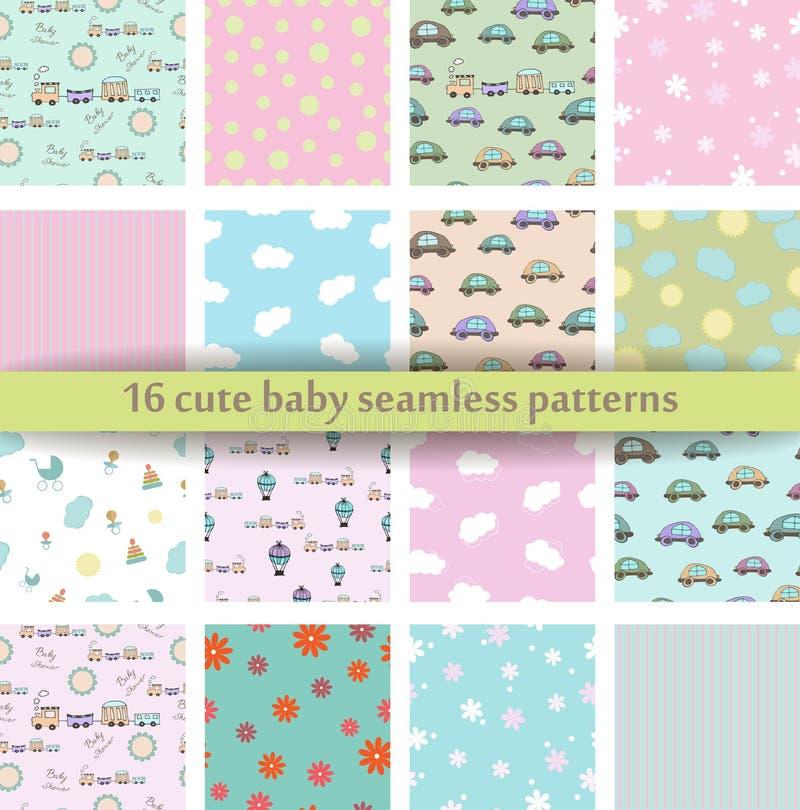 Satz des nahtlosen Musters des netten Babys 16 Retro- rosa, weiße und blaue Farben Beschaffenheit für Tapete, Webseitenhintergrun stock abbildung