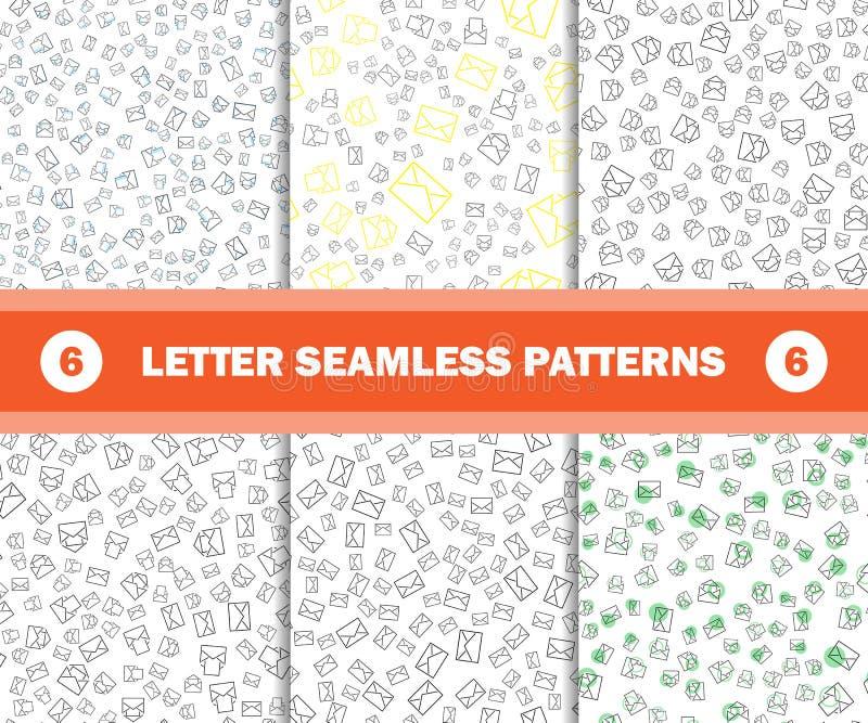 Satz des nahtlosen Musters mit Postumschlägen Vektorhintergrund für Postzustellung stock abbildung