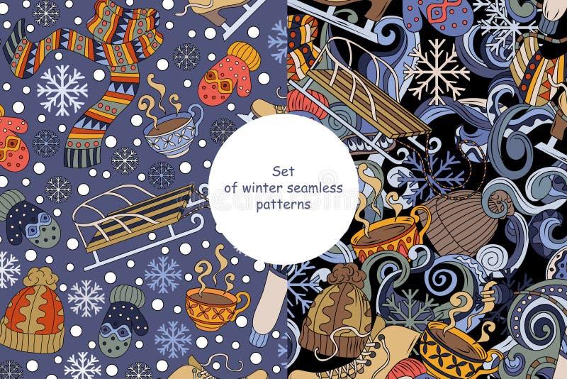 Satz des nahtlosen Musters netter Wintersaison Gekritzel der Karikatur Buntes ausführliches, Vektorillustration stock abbildung
