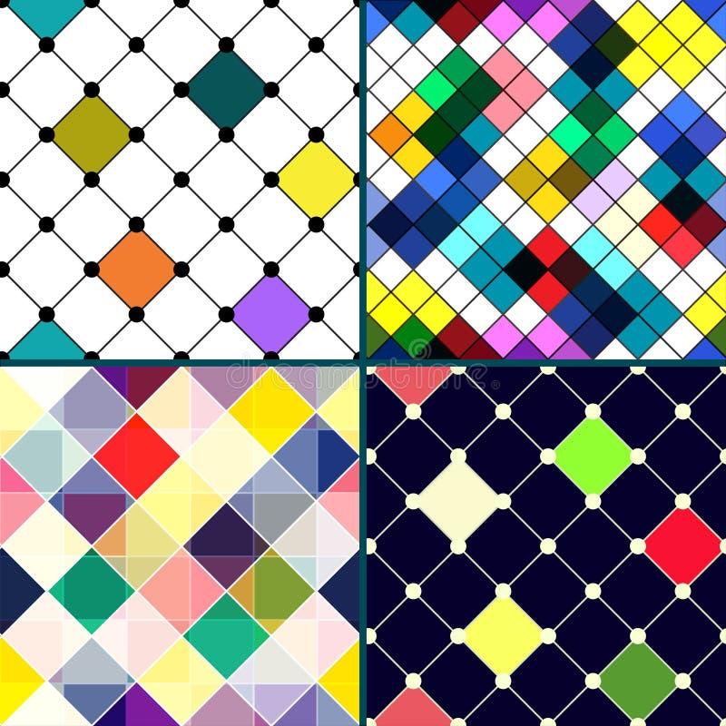 Satz des nahtlosen Musters von vier Vektor mit Raute. lizenzfreie abbildung