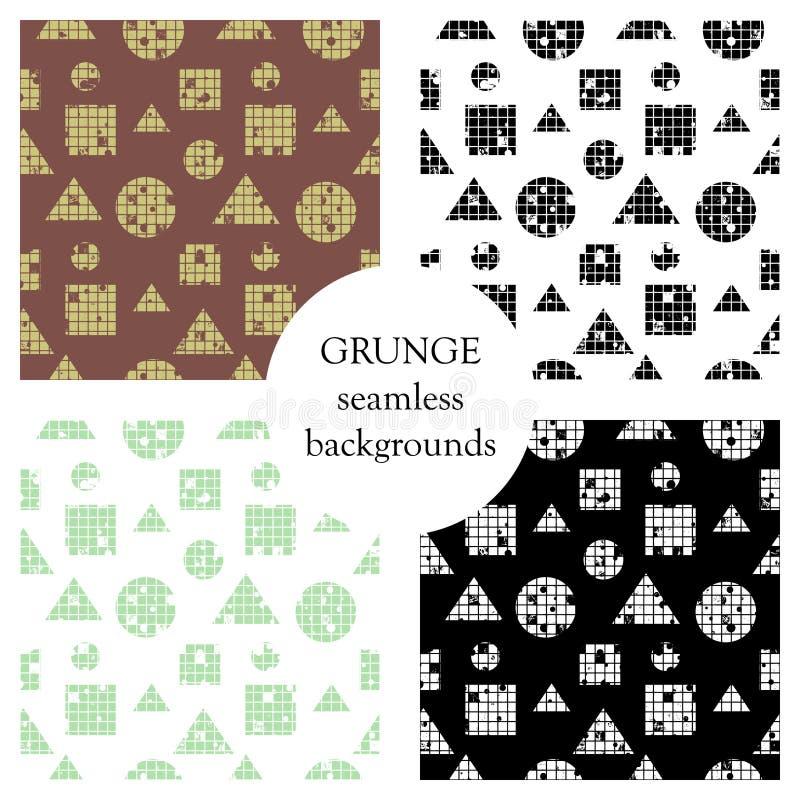 Satz des nahtlosen Vektorzusammenfassungsmusters geometrischer Hintergrund mit Kreisen, Quadrate, Dreiecke Schmutzbeschaffenheit  lizenzfreie abbildung