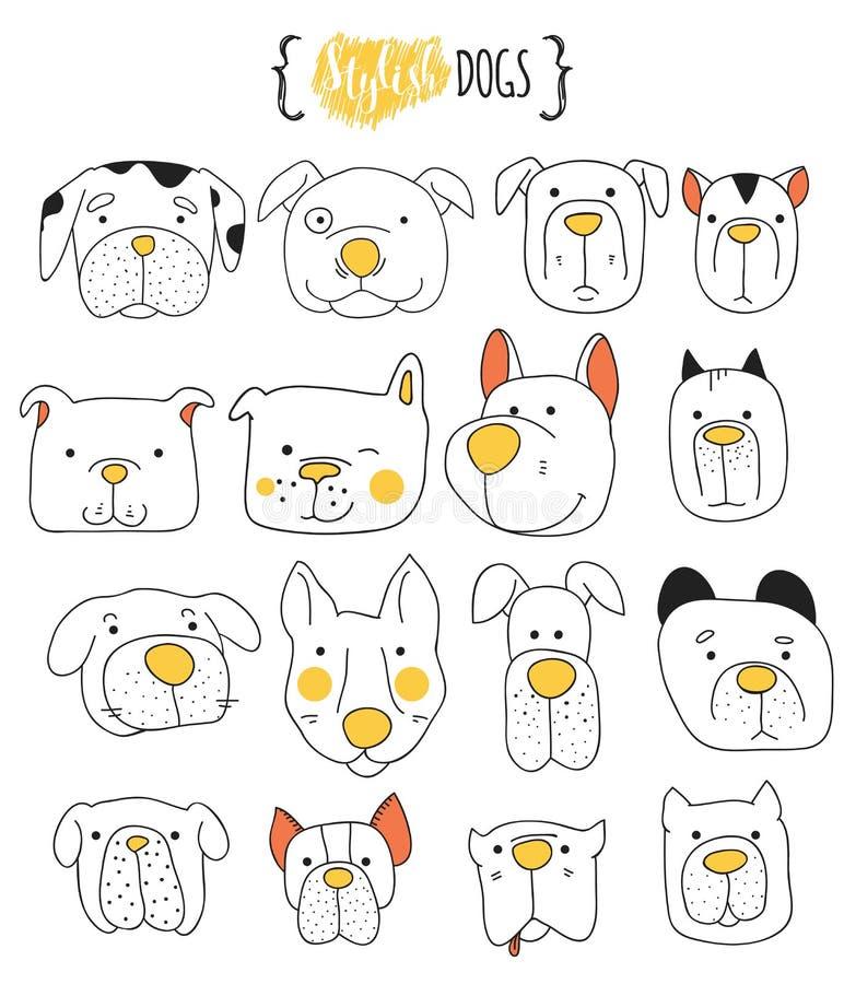 Satz 16 des netten Hundegekritzels Skizzenhund stock abbildung