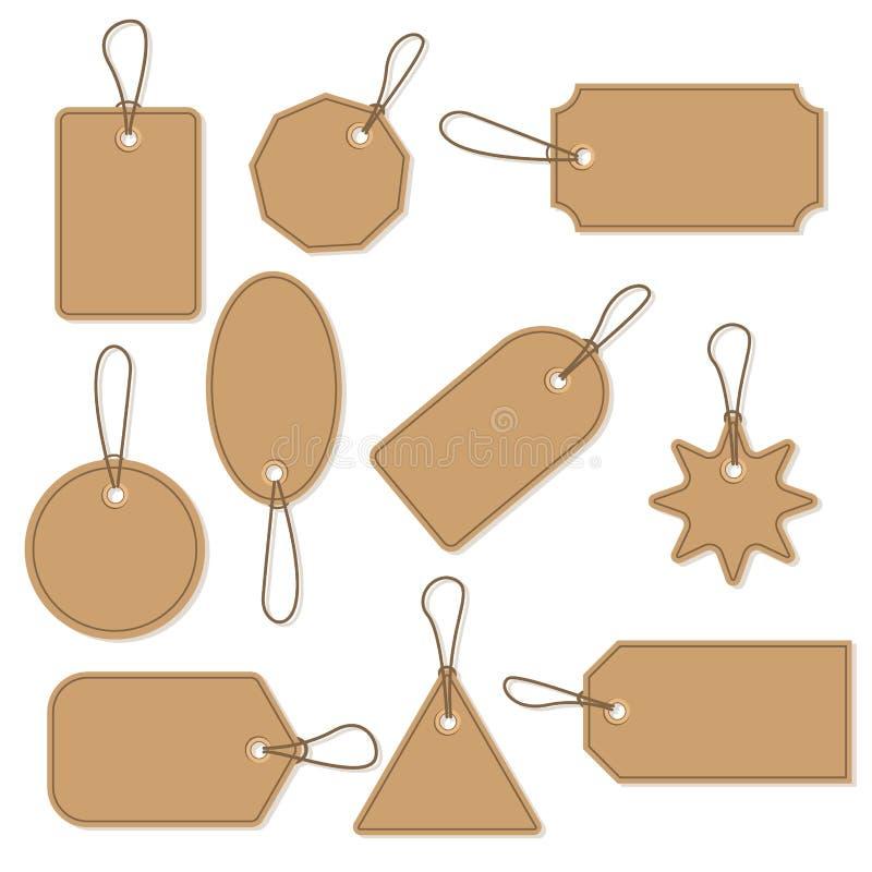 Satz des Preisgeschäftsfreien raumes des Handwerks der Retro- Einzelhandelskartenrabattverkaufs-Vektorillustration lizenzfreie abbildung