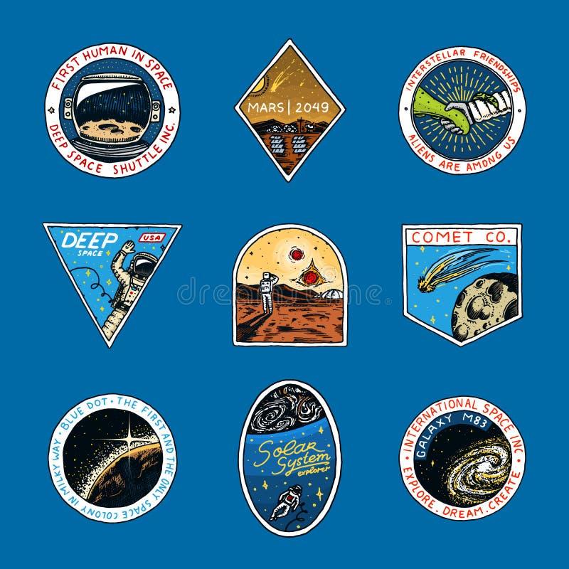Satz des Raumlogos Menschlicher Auftrag zu Mars Erforschung der astronomischen Galaxie Astronauten- oder Raumfahrerabenteuer vektor abbildung
