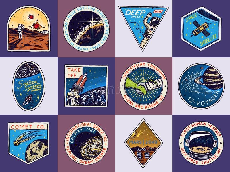 Satz des Raumlogos Menschlicher Auftrag zu Mars Erforschung der astronomischen Galaxie Astronauten- oder Raumfahrerabenteuer stock abbildung