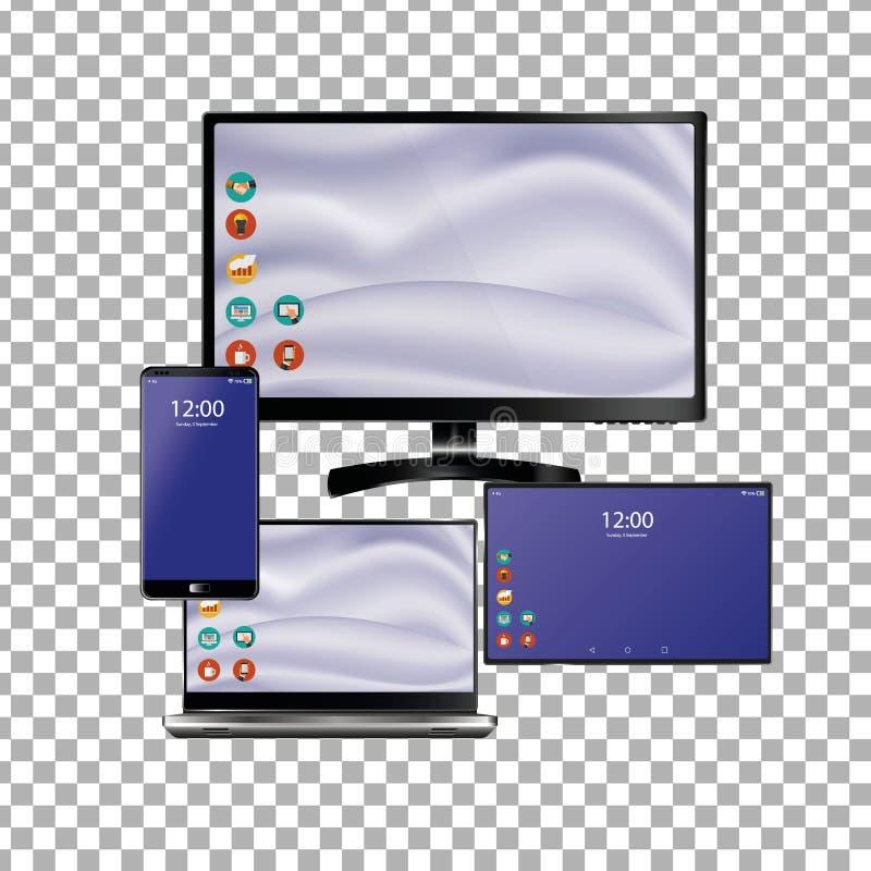 Satz des realistischen Laptops, der Tablette und des Handys mit leerem Schirm Lokalisiert auf transparentem Hintergrund lizenzfreie abbildung