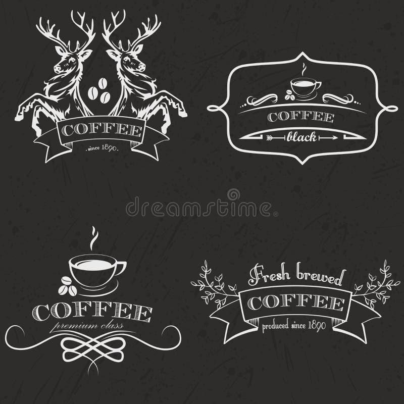Satz des Retro- Kaffeelogos der Weinlese wird und Aufkleber deutlich stock abbildung