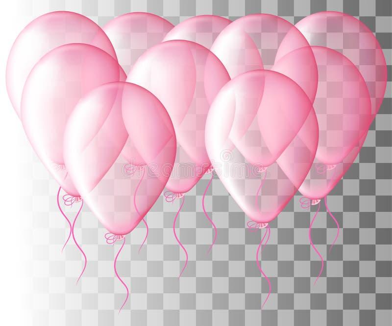 Satz des rosa Ballons lokalisiert in der Luft Bereifte Parteiballone für Ereignisdesign Parteidekorationen Geburtstag, Jahrestag, stock abbildung