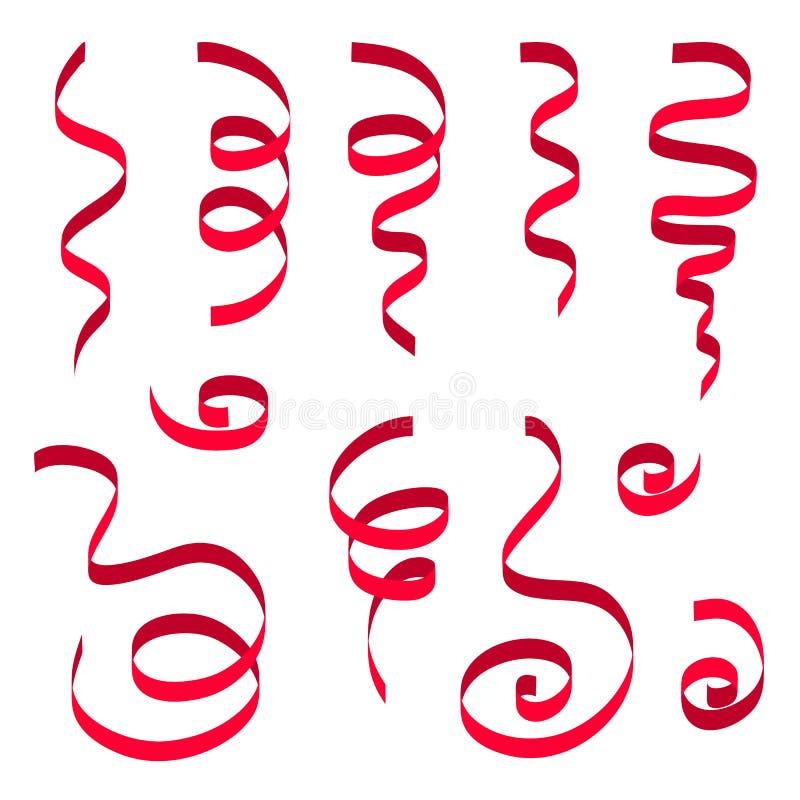 Satz des roten Bandes auf weißem Hintergrund Karnevalspartei-Serpentindekoration, Papierbänder für Ihr Design stock abbildung