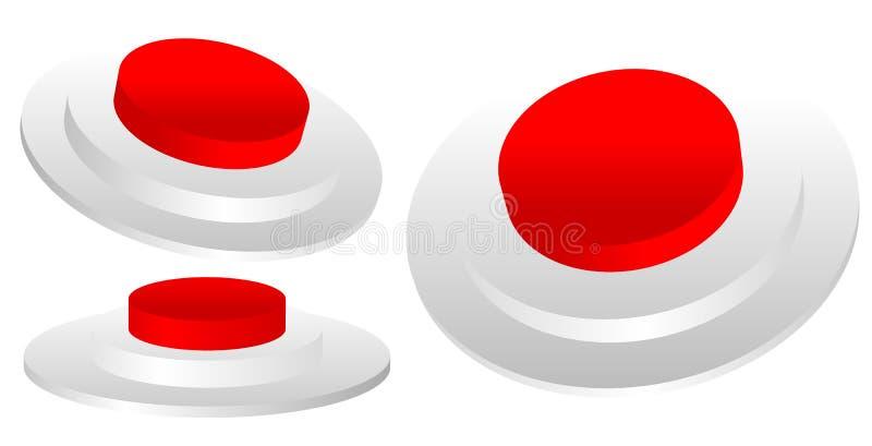 Satz des roten 3D Notfalls, Beendigung, STOPP-Taste von industriellem vektor abbildung
