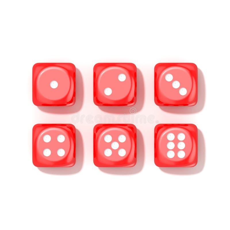 Satz des roten Spiels würfelt, alle Zahlen Beschneidungspfad eingeschlossen stock abbildung